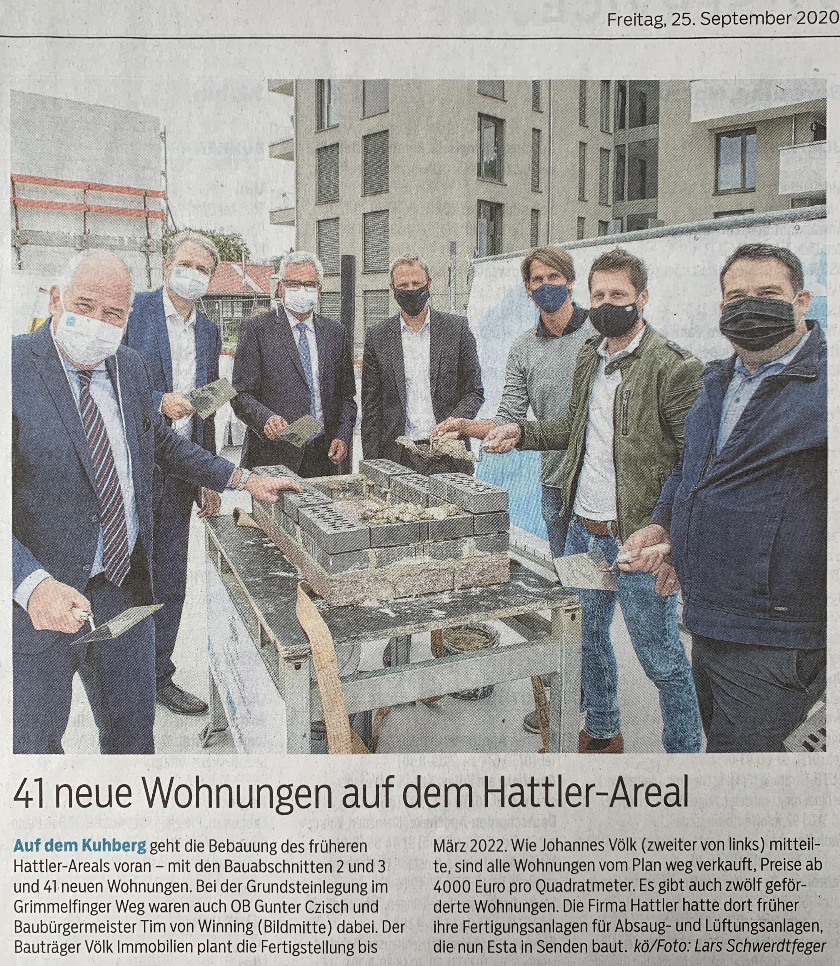 Pressebericht SWP - Grundsteinlegung Hattler Areal Bauabschnitt 2 und 3